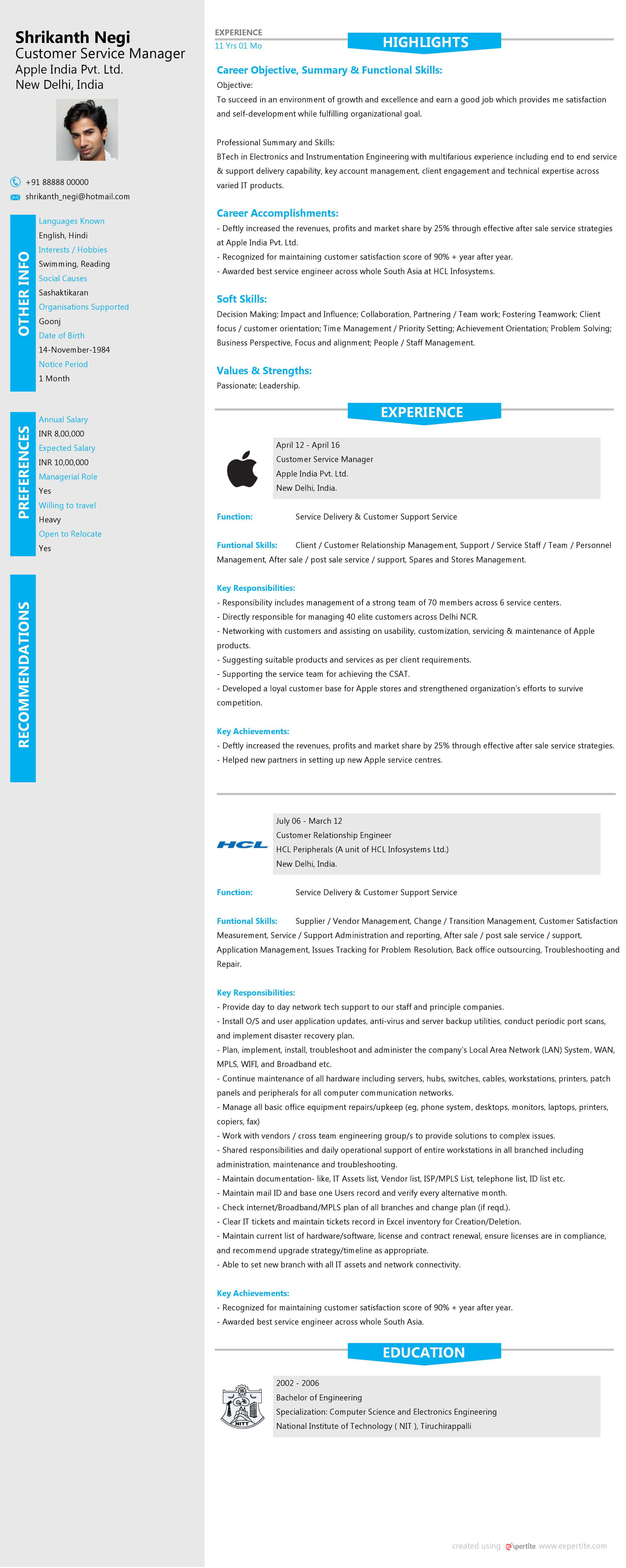 Create World Class Resume - Download Free Resumes | Expertite